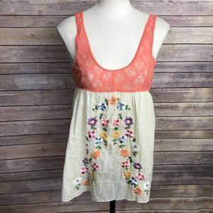 Intimately Free People Lace Embroidered Top